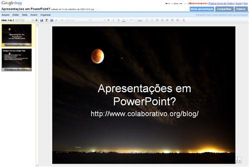 Google Docs Apresentações PowerPoint
